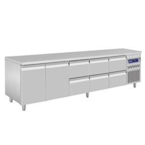 Diamond Coole Workbench - Edelstahl - 2 Türen und 6 Schubladen - 262,5x70x (h) 85 / 90cm - Europäische