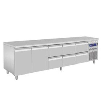 Diamond Koelwerkbank - RVS - 2 deurs en 6 laden - 262,5x70x(h)85/90cm - Europees
