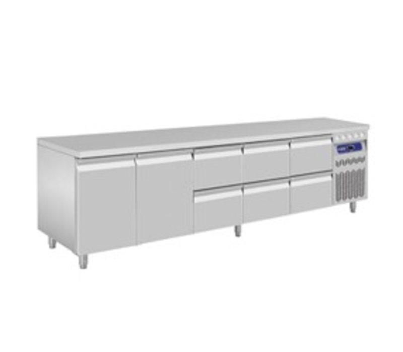 Diamond Cool Workbench - Stainless Steel - 2 doors and 6 drawers - 262,5x70x (h) 85 / 90cm - European