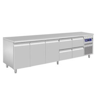 Diamond Koelwerkbank - RVS - 3 deurs en 4 laden - 262,5x70x(h)85/90cm - Europees