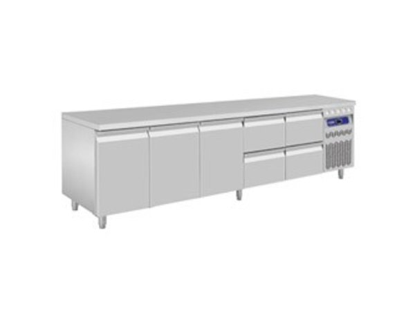 Diamond Coole Workbench - Edelstahl - drei Türen und vier Schubladen - 262,5x70x (h) 85 / 90cm - Europäische