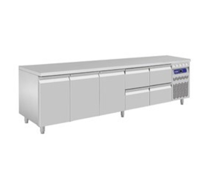 Diamond Cool Workbench - stainless steel - three doors and four drawers - 262,5x70x (h) 85 / 90cm - European