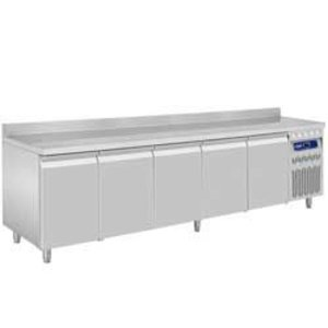 Diamond Cool Workbench with Rand Water - Stainless steel - 5 door - 262,5x70x (h) 85 / 90cm - European