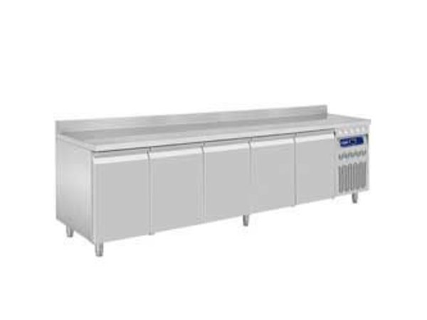 Diamond Cool Workbench with Rand Water - Stainless steel - 5 door - 262,5x70x (h) 85 / 90cm - European