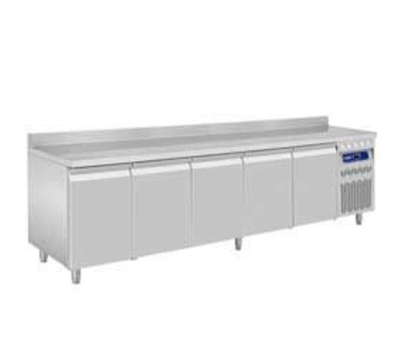 Diamond Koelwerkbank met Spatrand - RVS - 5 deurs - 262,5x70x(h)85/90cm - Europees