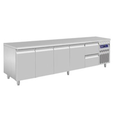 Diamond Koelwerkbank - RVS - 4 deurs en 2 laden - 262,5x70x(h)85/90cm - Europees
