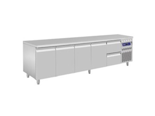 Diamond Cool Workbench - RVS - four doors and two drawers - 262,5x70x (h) 85 / 90cm - European
