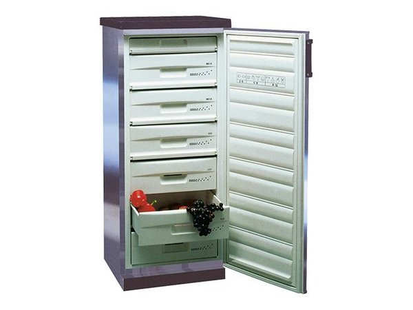 XXLselect Stainless steel freezer - three drawers and four compartments - 205 Liter - 60x63x (h) 145cm