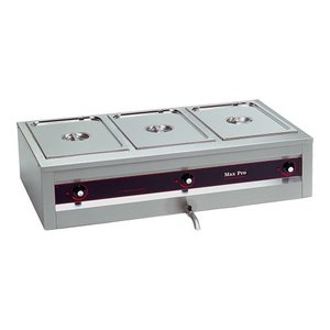 XXLselect Bain Marie Extra Deep | 20cm Baking | 3x1 / 1GN | Bleed taps | 105x61x (H) 30cm