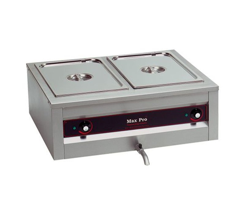 XXLselect Bain Marie Extra Deep | 20cm Backen | Mit Ablasshähne | 2x1 / 1GN | 710x610x (H) 300mm