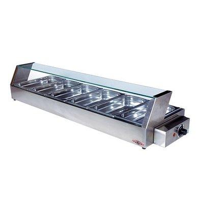 XXLselect Warming Showcase Edelstahlschlauch - 6x1 / 3GN - 1100x340x (h) 220mm