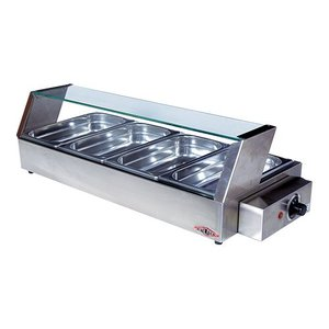 XXLselect Warming Vitrine Lange RVS - 4x1 / 3GN - 750x340x (h) 220mm