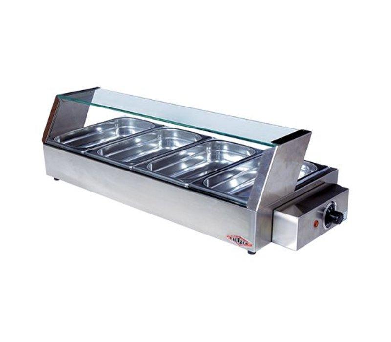 XXLselect Warming Vitrine Long RVS - 4x1 / 3GN - 750x340x (h) 220mm