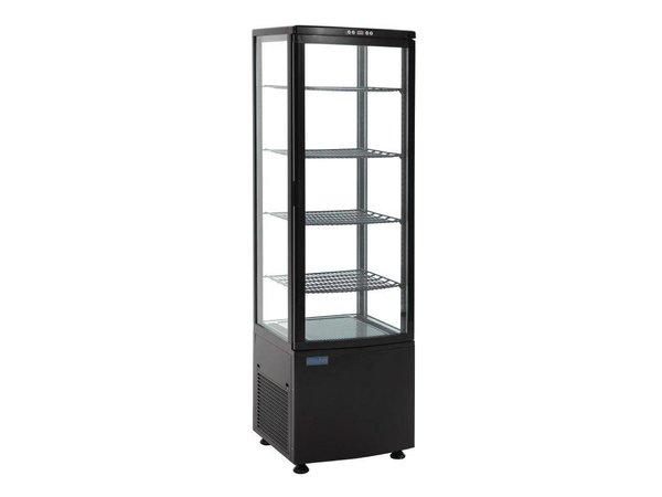 Polar Kühlvitrine - Black- 235 Liter - gebogenem Glas - Tür nach vorne - 52x49x (h) 172cm