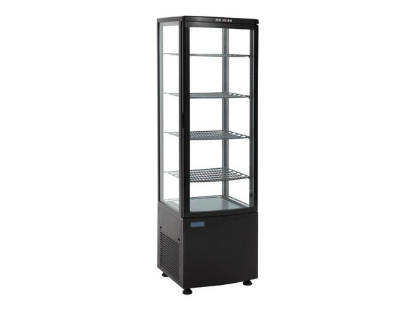 Polar Refrigerated display case - Black- 235 liters - Curved Glass - Door to front - 52x49x (h) 172cm