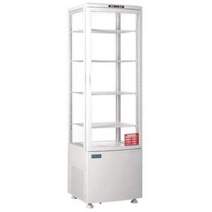 Polar Kühlvitrine - weiß - 235 Liter - gebogenem Glas - Tür nach vorne - 52x49x (h) 172cm