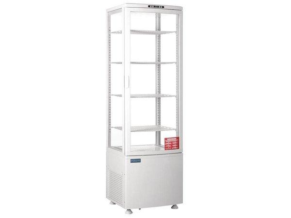 Polar Koelvitrine - Wit - 235 liter - Gebogen Glas - Deur aan voorkant - 52x49x(h)172cm