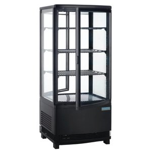 Polar Refrigerated display case - Black- 86 liters - Curved Glass - Door to front and back - 42x43x (h) 98cm