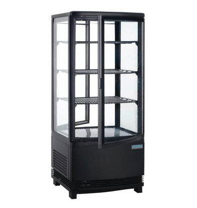 Polar Kühlvitrine - Black- 86 Liter - gebogenem Glas - Tür vorne und hinten - 42x43x (h) 98cm