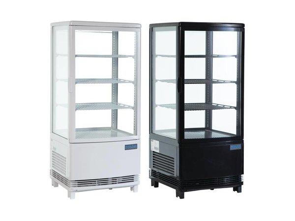 Polar Koelvitrine - Zwart- 86 liter - Gebogen Glas - Deur aan voor- en achterkant - 42x43x(h)98cm
