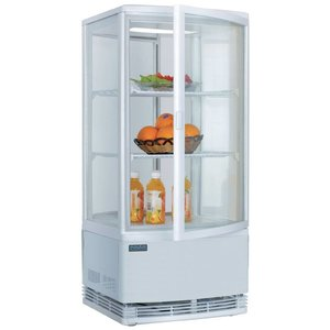 Polar Refrigerated display case - White - 86 liters - Curved Glass - Door to front and back - 42x43x (h) 98cm