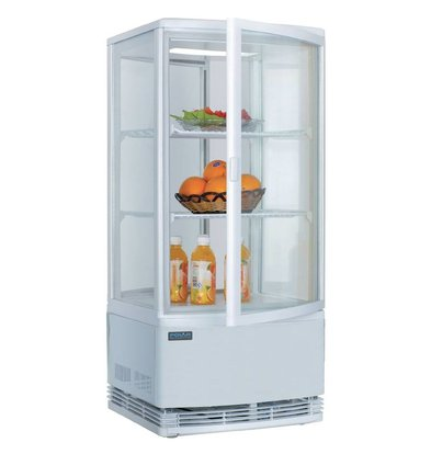 Polar Refrigerated display - white - 86 liters - Curved Glass - Door to front and back - 42x43x (h) 98cm