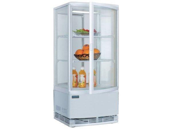 Polar Kühlvitrine - weiß - 86 Liter - gebogenem Glas - Tür vorne und hinten - 42x43x (h) 98cm
