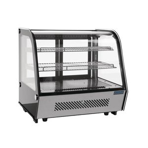 Polar Tabletop design Refrigerated display case - black / stainless steel - 120 liters - 70x57x (h) 69cm