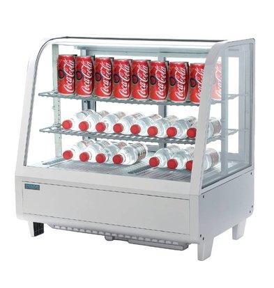 Polar Tabletop design Refrigerated display case - White - 100 Liter - 68x45x (h) 67cm - XXL OFFER!