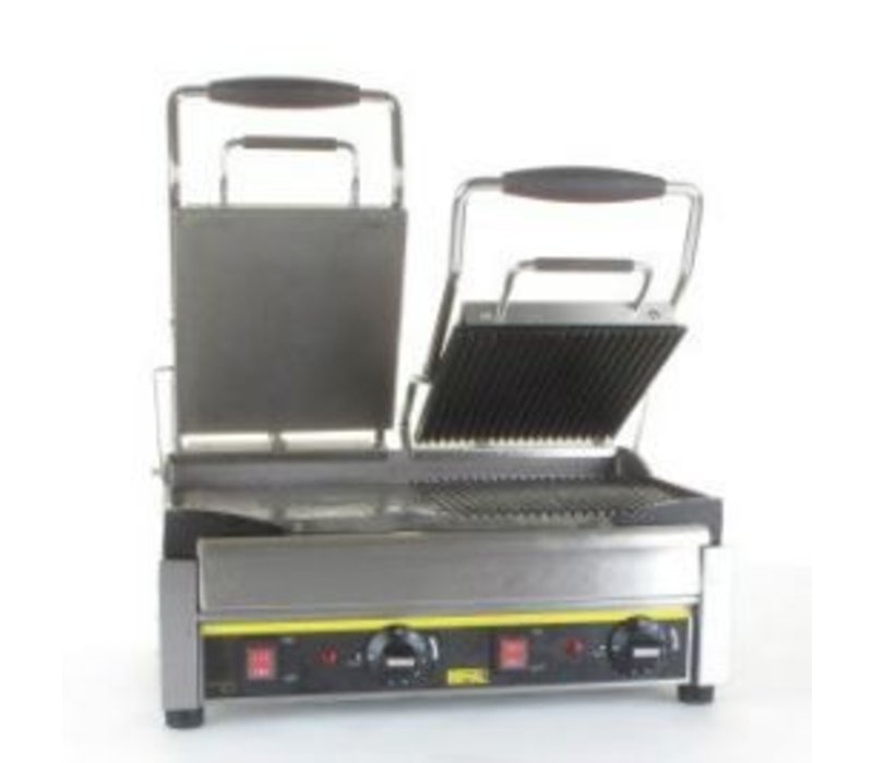 Buffalo Kontakt Grill Doppel - Heavy Duty - Right Rib / Rib - links glatt / glatt - 2900W - Digitale