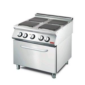 Gastro M Elektrisch Fornuis 4 Pits RVS + Oven en Onderstel | 400V |14,36kW | 800x700x(H)850mm