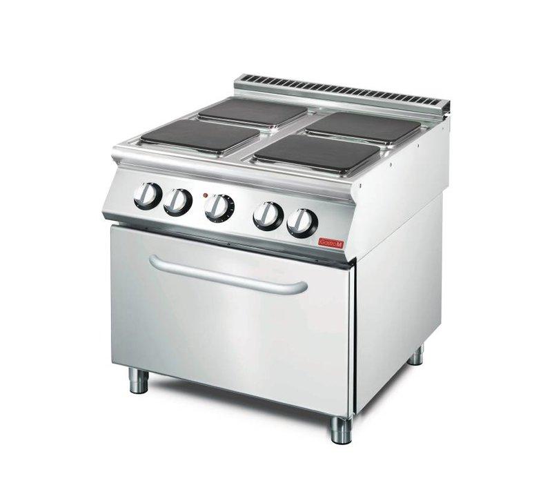 Gastro M Elektroherd 4 Brenner Edelstahl + Ofen und Fahrwerk | 400V | 14,36kW | 800x700x (H) 850mm