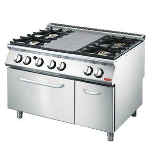 Gastro M Gasfornuis en Bakplaat  4 Branders + Oven en Onderstel | 1200x700x(H)870mm | 27,5kW