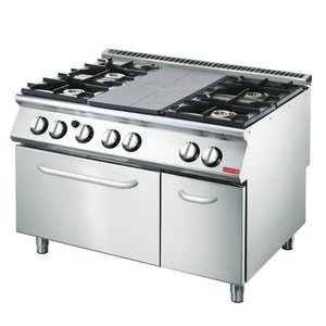 Gastro M Stovetop Griddle and 4 burners + Oven and Chassis | 1200x700x (H) 870mm | 27,5kW