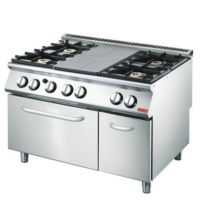 Gastro M Stovetop Griddle and 4 burners + Oven and Chassis   1200x700x (H) 870mm   27,5kW
