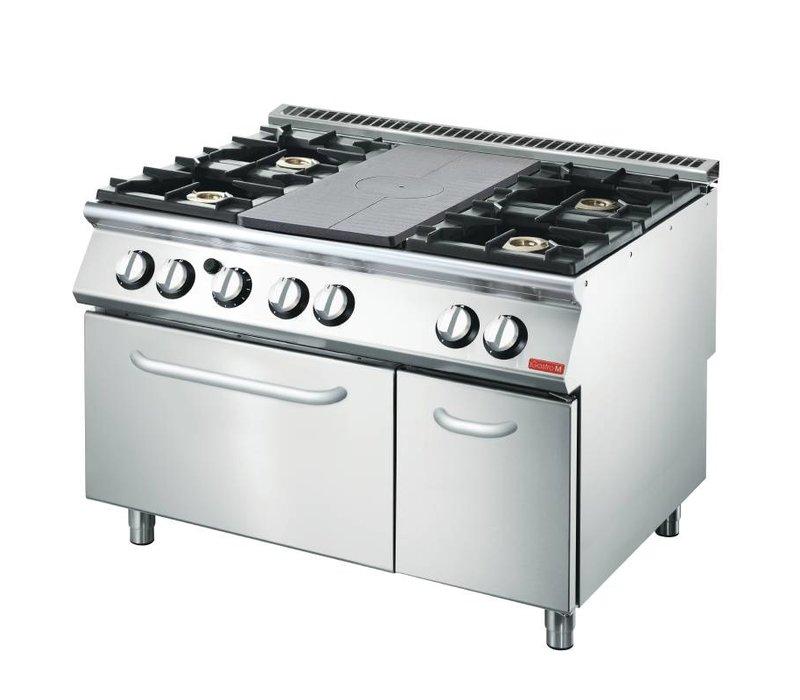 Gastro M Gasfornuis en Bakplaat  4 Branders + Oven en Onderstel   1200x700x(H)870mm   27,5kW