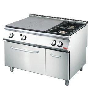 Gastro M Gasfornuis en Bakplaat 2 Branders + Oven en Onderstel | RVS | 1200x700x850(H)mm