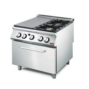 Gastro M Gasofrnuis en Bakplaat 2 Branders + Oven + Onderstel | RVS | 18kW | 800x700x(H)850mm
