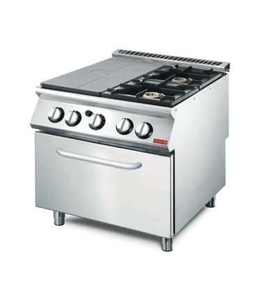 Gastro M Gasofrnuis and Griddle 2 burners + Oven + Chassis | SS | 18kW | 800x700x (H) 850mm