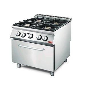 Gastro M Gasherd 4 Brenner + Backofen   SS   23,4kW   Mit Ofen und Fahrwerk   800x700x (H) 850mm