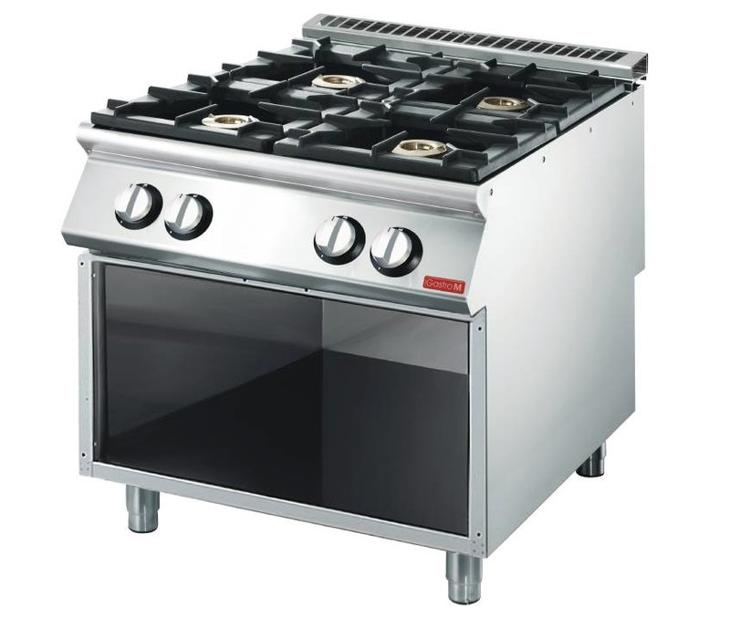 Gastro M Stovetop - stainless steel - 4 Burners - With Mount - 80x70x (h) 85m - 18,4kW