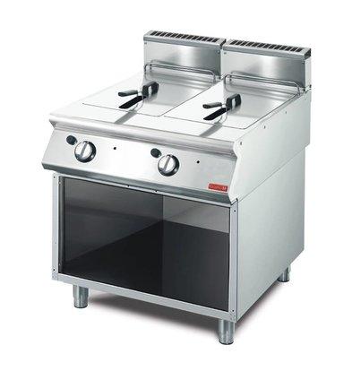Gastro M Fritteuse | Gas | SS | 2x13 Liter | 15kW | Mit Berg | 80x70x (h) 85cm