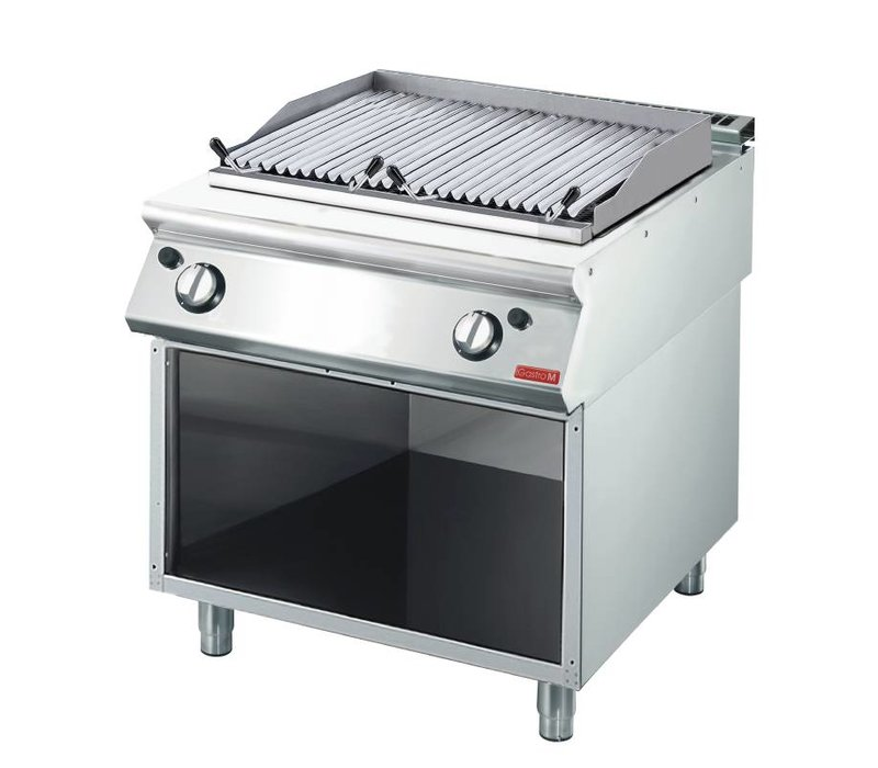 Gastro M Lava Rock Grill Gas stainless steel - with Mount - with the grill pan - 80x70x (h) 85cm - 15kW