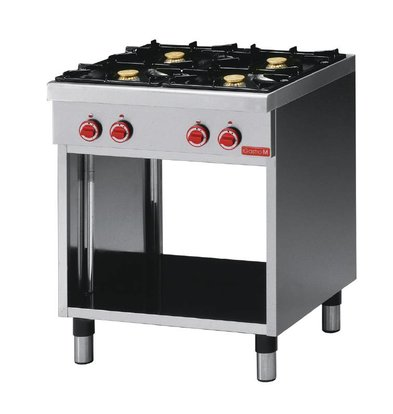 Gastro M Gas stove | SS | 4 burners | With Mount | 17,2kW | 700x650x (H) 850mm