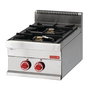Gastro M Stovetop - stainless steel - 2 burners - 40x65x (h) 28cm - 8,6kW