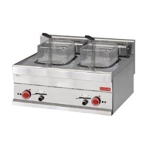 Gastro M Edelstahl-Fritteuse | Stufenlos regelbarer Thermostat | 2x10 Liter | 400V | 15kW | 700x610x (H) 280mm