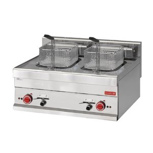Gastro M Stainless Steel Electric Fryer | Infinitely adjustable thermostat | 2x10 Liter | 400V | 15kW | 700x610x (H) 280mm
