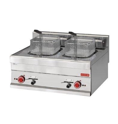 Gastro M Fryer Electric SS | Infinitely adjustable thermostat | 2x10 Liter | 400V | 15kW | 700x610x (H) 280mm