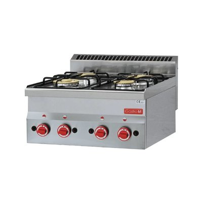 Gastro M Gas cooker | Stainless steel | 4 Burners | 60x60x (h) 28cm | 12.1kW