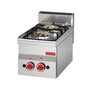 Gastro M Stovetop - stainless steel - two burners - 30x60x (h) 28cm - 6,1kW